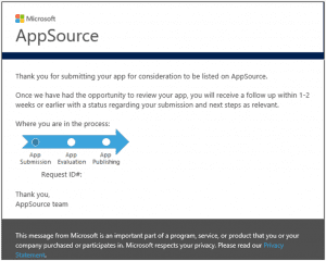 Microsoft appsource confirmation email
