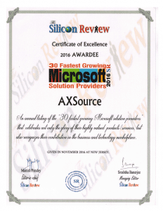 AXSource announced as one of the 30 Fastest Growing Microsoft Solution Providers 2016 1