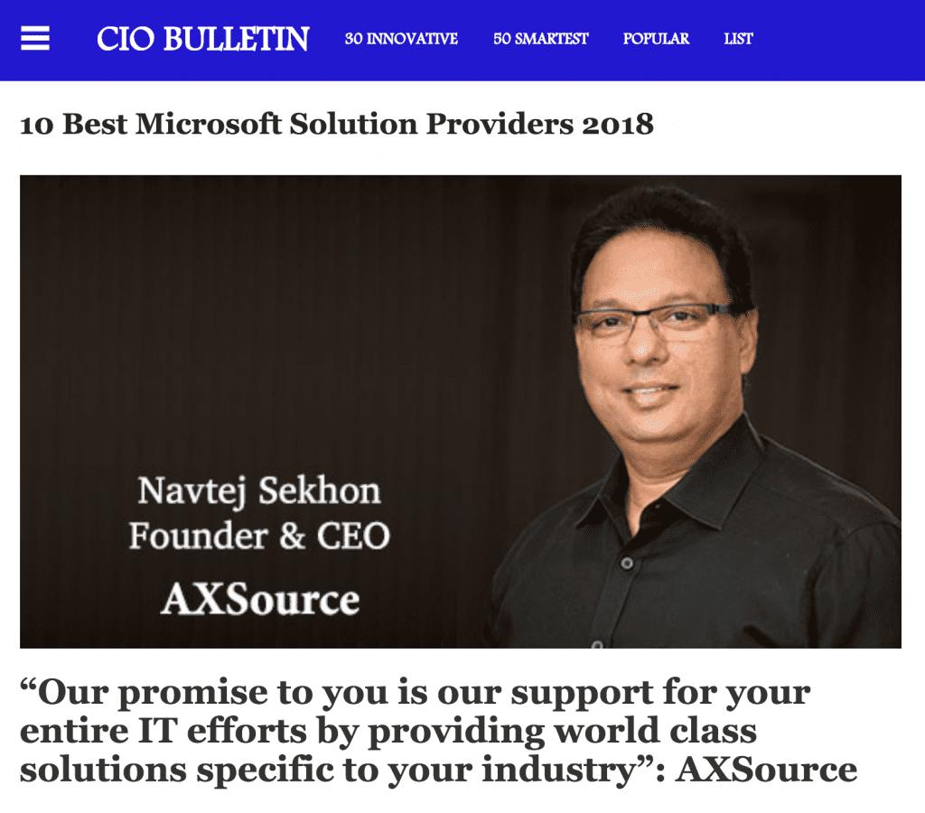 CIO Bulletin's 10 Best Microsoft Solution Providers 2018