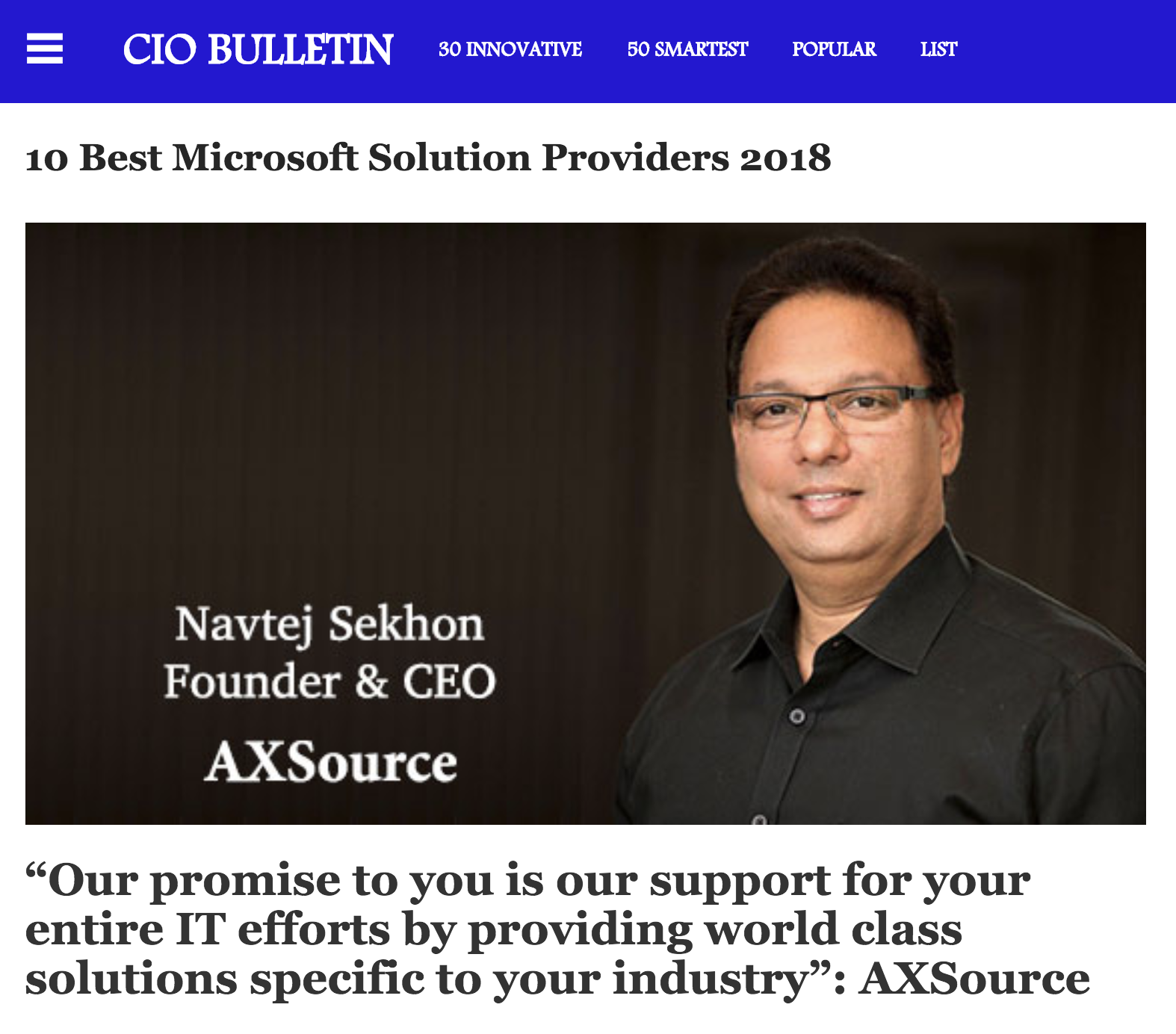 Best Microsoft Solution Providers 2018